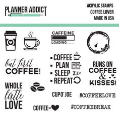 Pre-Order Planner Addict Coffee Lover 3x4 Photopolymer Stamp set #filofax #coffee