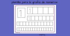 Sencilla ficha a modo de plantilla para reforzar la grafía del número a diferentes tamaño. El profesor pondrá en el cuadro que hay a la