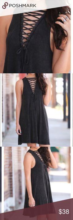 7c67645266425f Charcoal Boho Lace-up Swing Dress Charcoal Boho Lace-up Swing Dress with  pockets