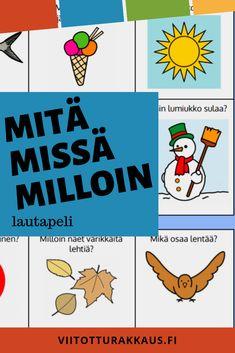 Kysymyksiä itsestä, luonnosta, ilmiöistä ja eläimistä. Vahvistaa vuorovaikutustaitoja. Learn Finnish, Diy Toys, Bingo, Projects To Try, Workshop, Playing Cards, Emoji, Language, Teaching