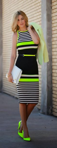 Gorgeous neon black and white stripes cute sleeveless summer mini dress with white leather clutch and neon high heels nude pumps and and bright cute blazer and gold braslate the best stripes summer outfits
