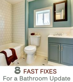 Bored with your bathroom? It's time to beautify! Get inspired with these ideas: Install new knobs on the cabinets. One fun idea: repurposed door knockers! Install hanging mirrors--hang from a cool ...
