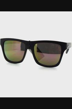 KUSH Sunglasses Unisex Matted Black Square Frame Multi-color Mirror Lens