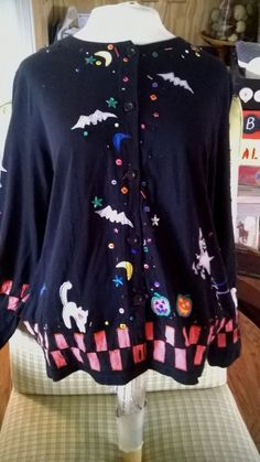 MICHAEL SIMON Womens HALLOWEEN Cardigan Sweater with all SPOOKY Things L #michaelsimon #Cardigan