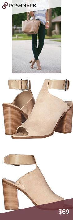 """Peep Toe Slingback Mule The chic styling of the Peep Toe block heeled sandal works in any season! It has a stunning ankle strap and flirty peep toe that will up your fashion game in seconds! Faux Seppia suede upper Adjustable buckle ankle strap Round peep toe 4"""" stacked block heel Anthropologie Shoes Ankle Boots & Booties"""