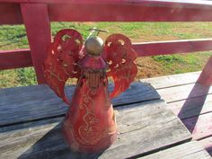 Vintage Shabby Red Tin Metal Florentine Christmas Angel Tree Topper | eBay