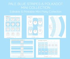 Free Pale Blue Party Printables!  Editable & Printable Mini Party Collection