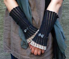 Gray Warm - crocheted open work lacy wrist warmers cuffs