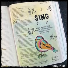 """""""The birds of the sky live beside the springs; they make their voices heard among the foliage."""" - Ps We have a lot of birds around… Scripture Art, Bible Art, Bible Verses, Psalm 104, Psalms, Bible Journaling For Beginners, Bless The Lord, Illustrated Faith, My Bible"""