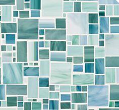 Glass Mosaics - Chrysalis - Ann Sacks Tile & Stone. large applique in ocean breeze e0024, light aqua e0029 and green mint e0034