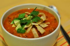 Pumpkin Tortilla Soup.  Gluten-free, dairly-free, and vegetarian.  This is some AWESOME soup!  Add shredded chicken to make it a complete meal.