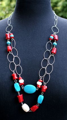 Handmade Sterling Silver Necklace with Turquoise howlite, white corals and bamboo corals