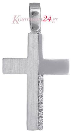 Λευκόχρυσος γυναικείος σταυρός 14Κ 018521