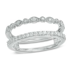 1/3 CT. T.W. Diamond Milgrain Solitaire Enhancer in 14K White Gold - View All Rings - Zales
