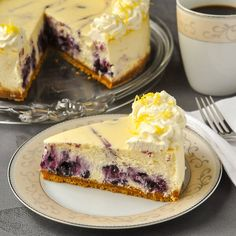 Lemon Blueberry Swirl Cheesecake - 2 complimentary flavours come together deliciously when a blueberry compote gets swirled through creamy lemon cheesecake.