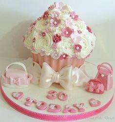 Girly Bags Giant Cupcake cake by Shereen giantcupcakecakes Girly Bags Giant Cupcake cake by Shereen giantcupcakecakes Girly Bags Giant Cupcake - Girly Bags Giant Cupcake cake by Shereen giantcupcakecakes Girly Bags Giant Cupcake cake by Shereen giantc Cupcake Torte, Giant Cupcake Cakes, Large Cupcake, Cupcake Birthday Cake, Rose Cupcake, Pink Birthday, Birthday Stuff, Beautiful Birthday Cakes, Beautiful Cupcakes