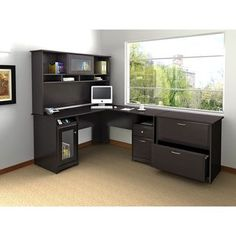 This Cabot Collection office suite was designed for people who value style functionality and a great price. The combined Desk with Hutch offers plenty of open and closed storage, including matching ca
