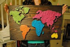 Items similar to Nail Wall Art World Map, Bold and Beautiful Palette on Etsy Cute Crafts, Diy And Crafts, Arts And Crafts, Yarn Wall Art, Map Projects, Nail String Art, Crafty Craft, Map Art, Art World