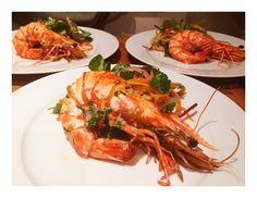 Grilled king prawns with spicy mango salad
