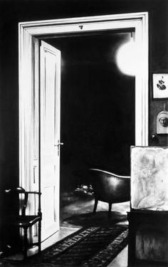 Robert Longo, Untitled (Open Door, Consulting Room to Study Room, 1938), 2000, Charcoal on mounted paper, 96 x 60 inches