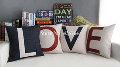 Find More Pillow Case Information about 4pcs/Lot  LOVE  Pillow Linen Square Pillow Case Cushion Cover On the Sofa  Novelty Dakimakura Home Decor 45*45cm,High Quality case ace,China cover day Suppliers, Cheap case for samsung galaxy 2 from Multi Choice  Store on Aliexpress.com