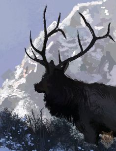 make on photoshop, this is a digital speed paint, take a look on the details. a beautiful mountain bull elk.