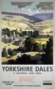Yorkshire Dales, England, UK vintage railway poster