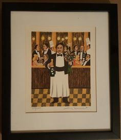 """Guy Buffet """"Monsieur Henri"""" Signed & Numbered Lithograph Print, Framed! by SweetbriarTreasures on Etsy"""