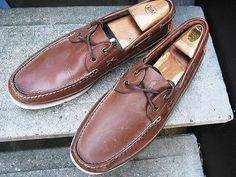 RALPH LAUREN POLO Used Brown Leather Top-Siders Boat Shoes 12