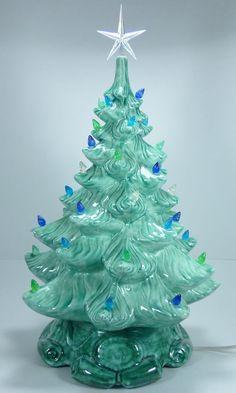 "Vintage Atlantic Mold 16"" Ceramic Christmas Tree Blue Green Gilbert Switch Cord Christmas Minis, Christmas Deco, Christmas Holidays, Merry Christmas, Christmas Ornaments, Vintage Ceramic Christmas Tree, Vintage Christmas Images, Ceramics Projects, Beautiful Christmas"
