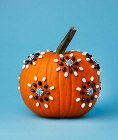 No-Carve Pumpkin Decorating Idea: candy patterns