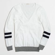 White J Crew V-Neck Sweater Only worn once! Cool black and grey detail. 100% cotton.  Let me know if you have any questions :) please note this is J. Crew Factory J. Crew Sweaters V-Necks