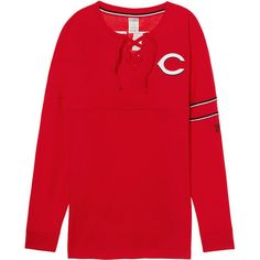 PINK Cincinnati Reds Bling Lace-up Varsity Crew ($70) ❤ liked on Polyvore featuring red