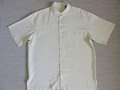 Hawaiian Shirt TORI RICHARD Vintage 90s 100% Silk Tropical Palm Tree Diamond Pattern Vanilla Cream Camp Mens - L - Oahu Lew's Shirt Shack by…