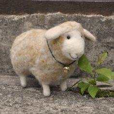 love the smile! Handmade needlefelted sheep by Inna Pavlova