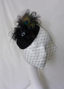 ec3b71bba4f Black Peacock Feather Pillbox Fascinator Hat with Merry Widow Blusher Veil  and Vintage Crystal Stud -