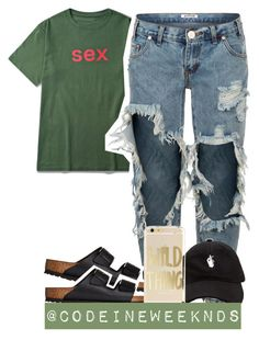 """7/22/16"" by codeineweeknds ❤ liked on Polyvore featuring One Teaspoon and Birkenstock"