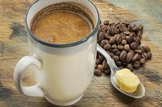 Sugary coffee drinks are out; healthy coffee drinks are in! Make them at home with this totally clutch coffee maker and these health-boosting coffee hacks. Café Bulletproof, Canned Butter, Coconut Oil Coffee, Mct Oil In Coffee, Ghee Coffee, Coffee Creamer, Coffee Coffee, Black Coffee, Coconut Water