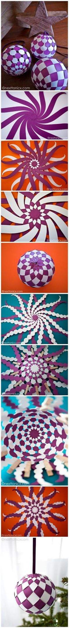 How to make pretty woven paper baubles step by step DIY tutorial instructions , How to, how to do, diy instructions, crafts, do it yourself, by Mary Smith fSesz