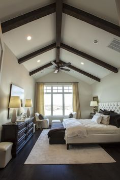 Southern Living: 2013 Southern Living Showcase House - Master bedroom design with vaulted ceiling. Love the beams