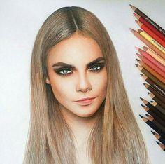 5df436eddc8d Cara Delevinge Drawing ❤ Art Drawings