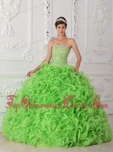Organza Spring Green Ball Gown Strapless Vestidos de Quinceanera with Beading