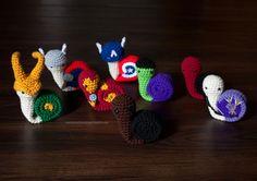 Crocheted Avengers as Snails - Snailvengers Assemble! …Slowly.