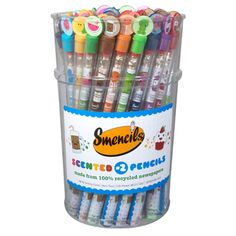 The Smencils Bucket includes 50 of our scented pencils that are made from 100% recycled newspaper. Each Smencil is a No.2 pencil and packaged in its own recyclable plastic freshness tube that includes a collectible character top cap! Each bucket comes with 50 Smencils. You will receive 5 each of the 10 scents per bucket.  50 Smencils per bucket Recyclable plastic freshness tube 5 each of the 10 scents Shipping is $15.95 per bucket