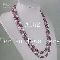 Wholesale Pearl Necklace - Buy Fashion Natural Shaper 7-8mm Mixes Color Fresh Water Pearl Necklace 48inch Long Neckalce A152, $11.55 | DHgate
