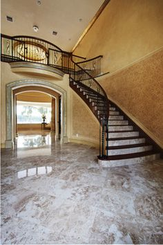 Cappuccino Marble Tiles - traditional - Staircase - Tampa - Stone-Mart