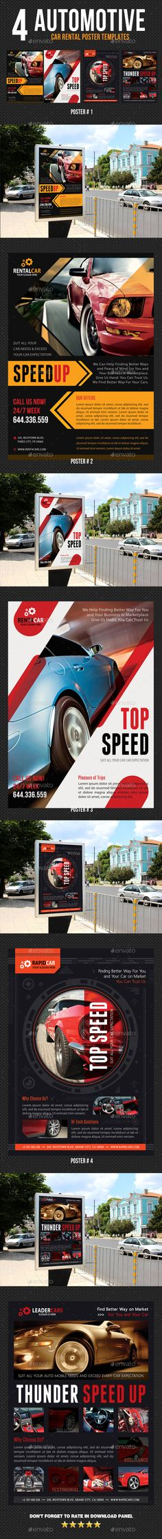 4 Automotive Car Rental Poster Template PSD Bundle. Download here: http://graphicriver.net/item/4-automotive-car-rental-poster-bundle-02/15499649?ref=ksioks