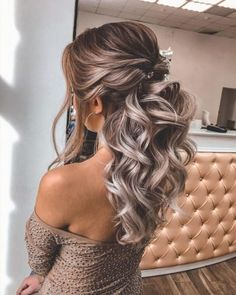 Bridesmaid Hairstyles Half Up Half Down, Half Up Wedding Hair, Hairdo Wedding, Long Hair Wedding Styles, Wedding Hairstyles For Long Hair, Fancy Hairstyles, Wedding Hair And Makeup, Short Hair, Hairstyles For Weddings