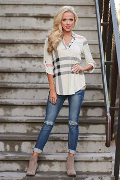 Office Hours Plaid Top - Beige
