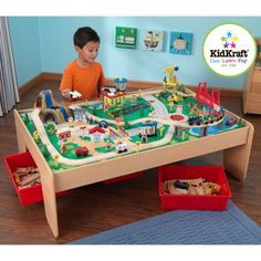 KidKraft® – Waterfall Mountain Train and Table Set. Table dimensions (L x W x H): 49.25 in. x 35 in. x 17.5 in.)